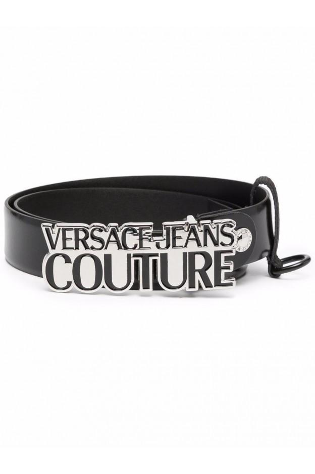 Versace Jeans Couture Logo-Plaque Leather Belt 71YA6F04 ZP059 899 BLACK - New Season Fall Winter 2021 - 2022