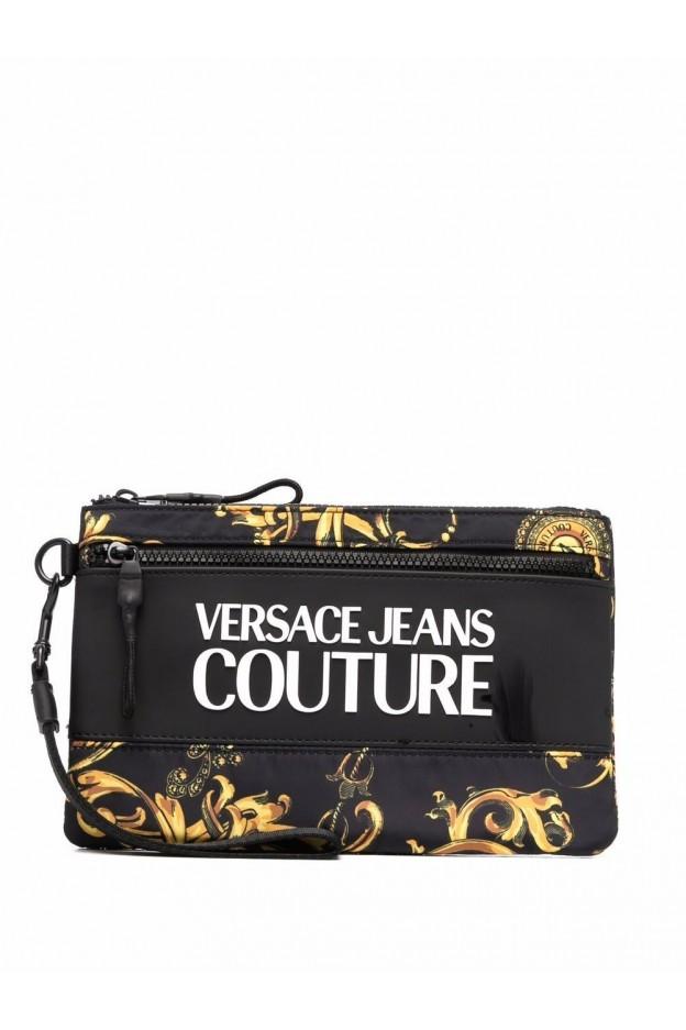 Versace Jeans Couture Barocco-Print Logo-Appliqué Pouch 71YA5P90 ZS109 G89 NERO - New Season Fall Winter 2021 - 2022