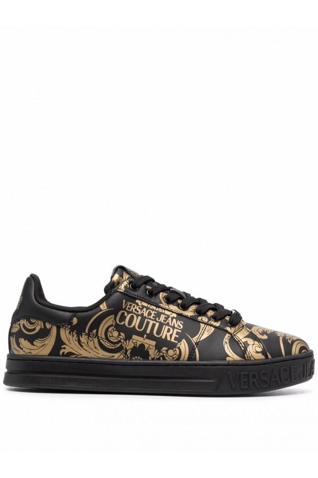 Versace Jeans Couture Sneakers Barocco Court 88 71YA3SK4 ZP016 G89 BLACK GOLD - Nuova Collezione Autunno Inverno 2021 - 2022