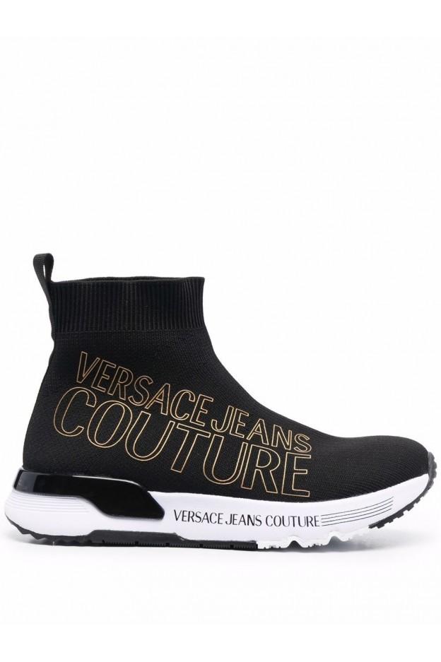Versace Jeans Couture Logo-Print Sock-Style Trainers 71VA3SA1 ZS016 899 BLACK - New Season Fall Winter 2021 - 2022