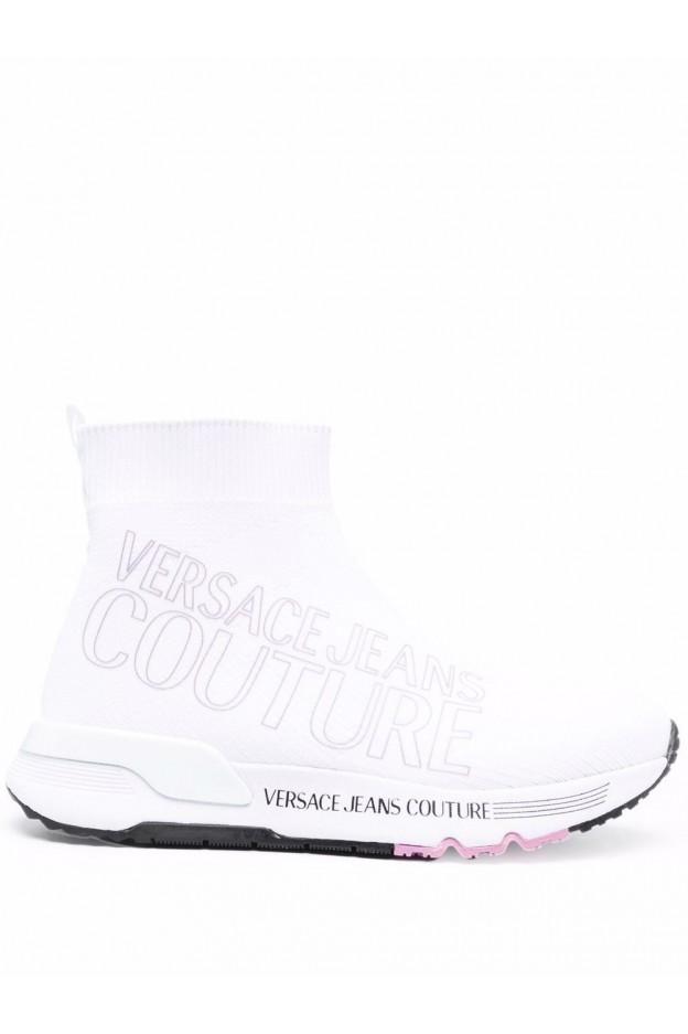 Versace Jeans Couture Logo-Print Sock-Style Trainers 71VA3SA1 ZS016 003 WHITE - New Season Fall Winter 2021 - 2022