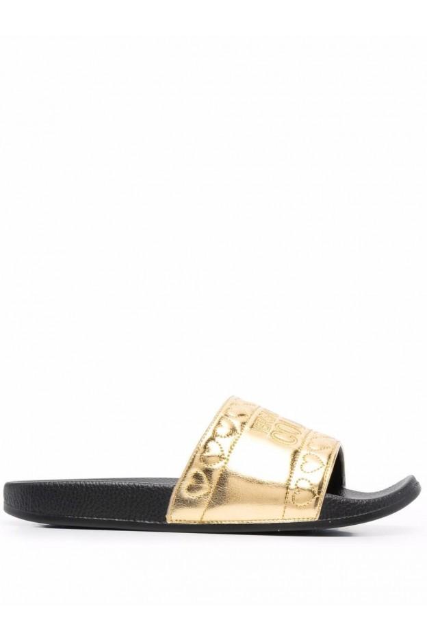 Versace Jeans Couture Logo Laminated Slides 71VA3SQ4 ZS039 948 Gold - New Season Fall Winter 2021 - 2022