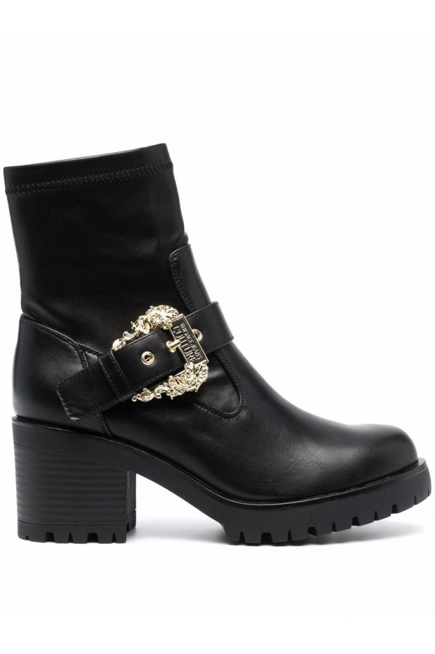 Versace Jeans Couture Decorative-Buckle Block-Heel Boots 71VA3S92 71570 899 BLACK - New Season Fall Winter 2021 - 2022