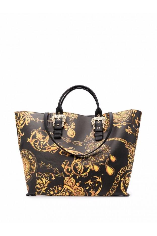 Versace Jeans Couture Borsa Tote Con Stampa Barocca 71VA4BF9 71880 G89 BLACK + GOLD -  Collezione Autunno Inverno 2021 - 2022