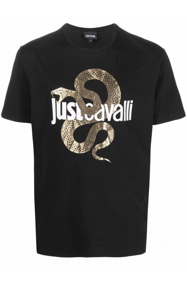 Just Cavalli T-Shirt Con Logo S01GC0686N20663 900 BLACK - Nuova Collezione Autunno Inverno 2021 - 2022