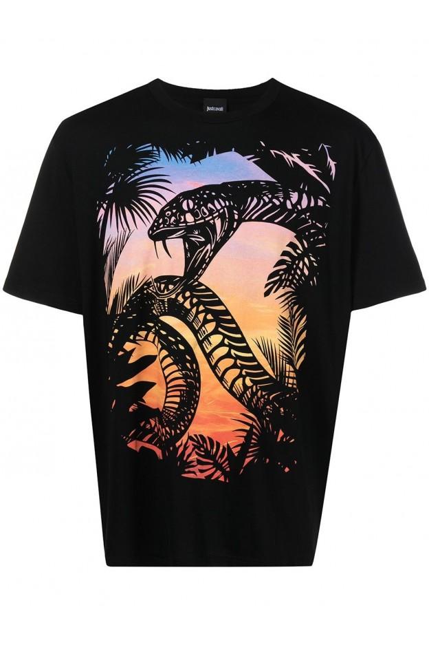 Just Cavalli T-Shirt Con Stampa S03GC0645900 BLACK - Nuova Collezione Autunno Inverno 2021 - 2022
