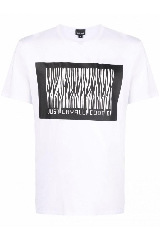 Just Cavalli T-Shirt Con Stampa S03GC0637N20663 100 BIANCO/NERO - Nuova Collezione Autunno Inverno 2021 - 2022
