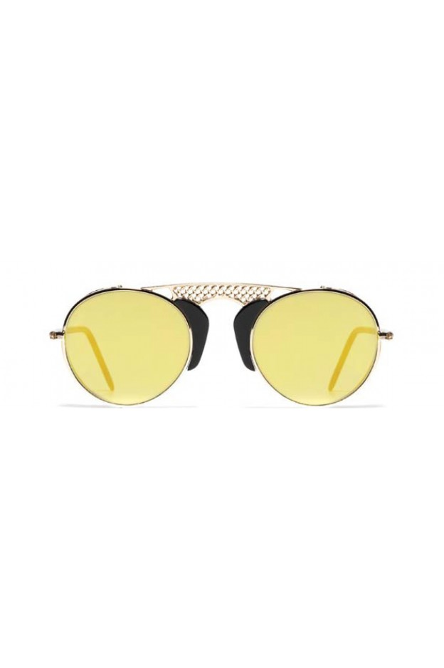 L.G.R. Albatros Sunblasses Black 01 / Flat Gold Mirror