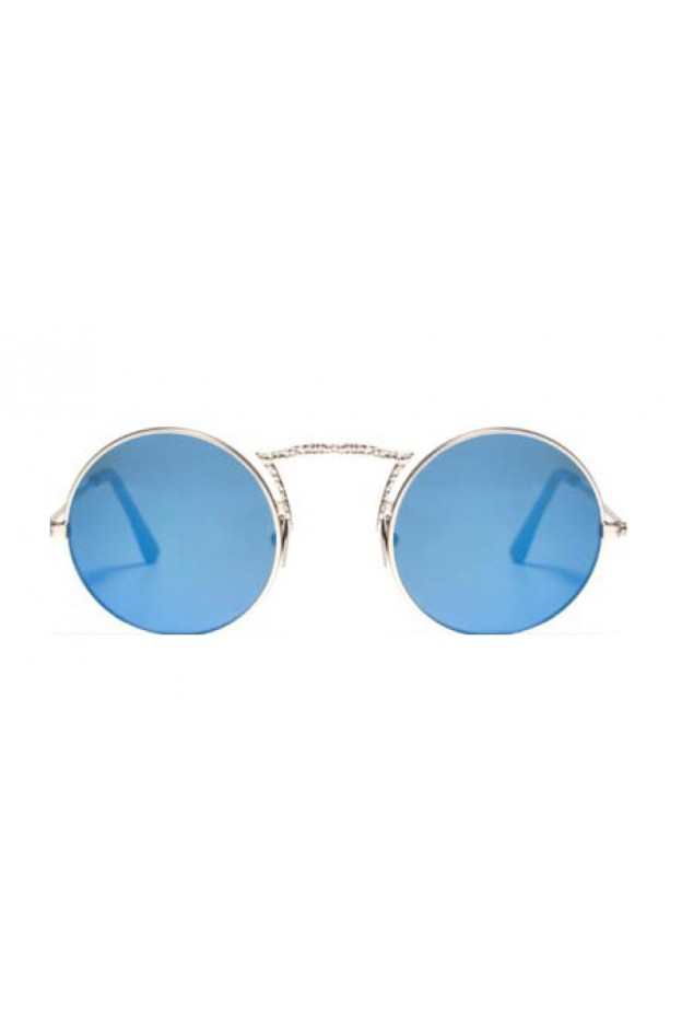 L.G.R. Occhiali Monastir Silver Matt 00 / Blue Mirror Polarized